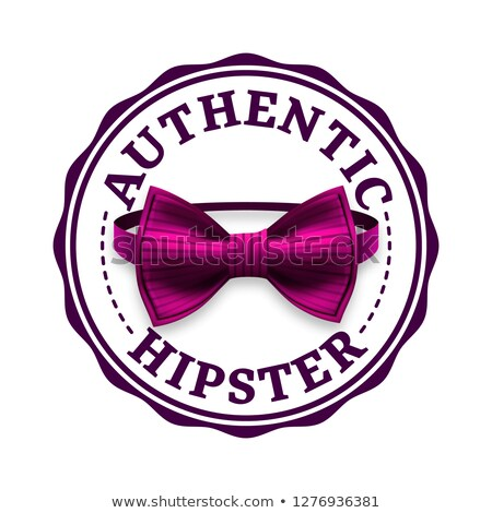 Authentic Hipster Label Vector. Stamp Design. Bow Tie. Realistic Illustration Stock photo © pikepicture