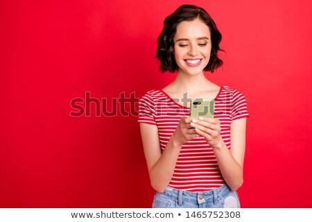 巻き毛 十代の少女 sms ホーム 電話 ストックフォト © boggy
