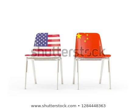 Zwei Stühle Fahnen China isoliert weiß Stock foto © MikhailMishchenko