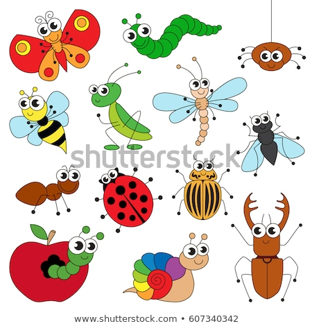 Coloring template with cute worm Stock photo © colematt