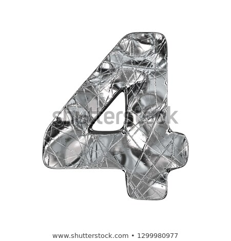 Grunge aluminium foil font number 4 FOUR 3D Stock photo © djmilic