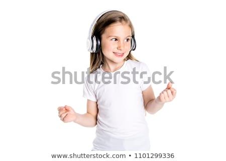 güzel · kız · dinleme · müzik · eski · gramofon - stok fotoğraf © lopolo