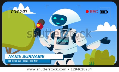 Robot Reporter Makes A Video Report Vector. Isolated Illustration Stock photo © pikepicture