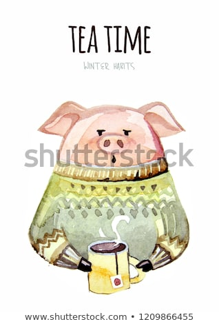 Feliz ano novo cartão postal porco verde suéter rena Foto stock © robuart