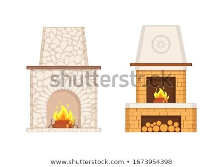 Kandalló fából készült kő szett vektor égő Stock fotó © robuart