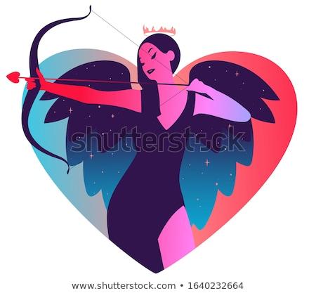 San valentino blu carta arco vettore san valentino Foto d'archivio © robuart