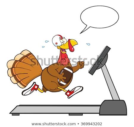 Futball Törökország madár rajzfilmfigura fut futópad Stock fotó © hittoon