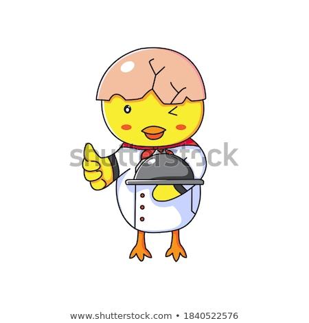 küçük · şef · krep · gülen · karikatür · kroki - stok fotoğraf © hittoon