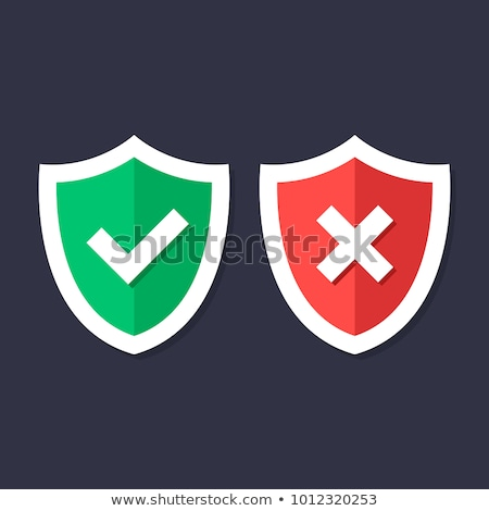 Stock photo: Shields with check mark and cross icons set. Red and green shield with checkmark and x mark. Protect
