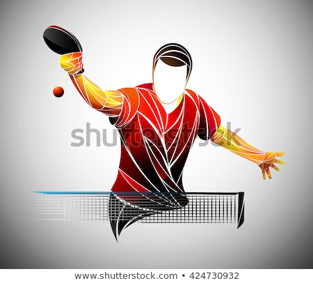 Vektör ayarlamak masa tenisi ahşap spor top Stok fotoğraf © olllikeballoon