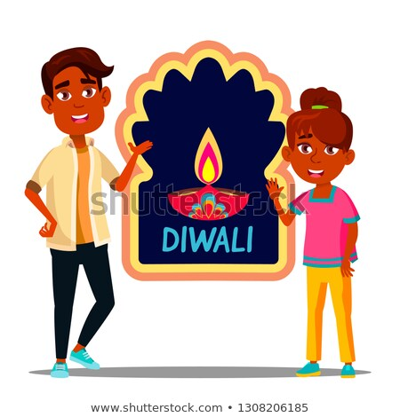 happy indian children in turban with diwali banner vector isolated illustration stock photo © pikepicture