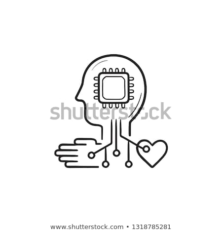 Zdjęcia stock: Human Head With Chip And Circuit Hand Drawn Outline Doodle Icon
