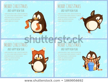 Happy Christmas Penguin Cartoon Character With Open Wings Stock photo © hittoon