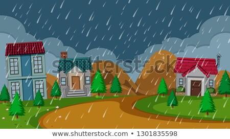 Simple rural house rainy night Stock photo © colematt