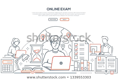 Ligne examen ligne design style web Photo stock © Decorwithme