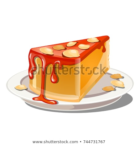 A slice of pumpkin pudding or cheesecake with red topping and crumble nut cereal isolated on a white Stock photo © Lady-Luck