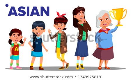 Asiatic Generation Female People Person Vector. Asian Mother, Daughter, Granddaughter, Baby, Teen. I Stock photo © pikepicture