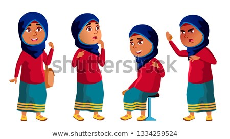 arab muslim girl kid poses set vector high school child education young cute comic for card stock photo © pikepicture