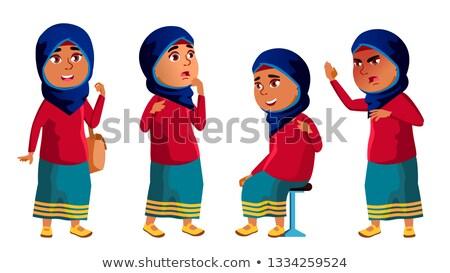 Arap Müslüman kız çocuk ayarlamak vektör Stok fotoğraf © pikepicture