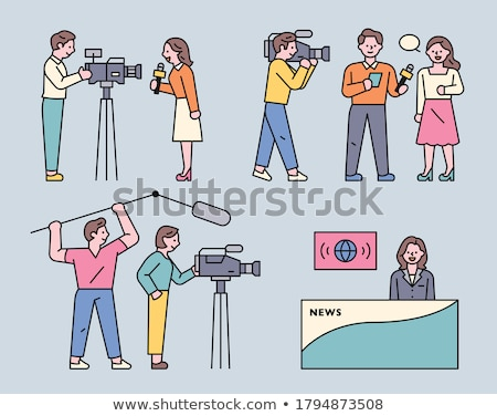 Nieuws verslaggever studio illustratie televisie ontwerp Stockfoto © colematt