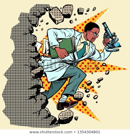 cartoon · scienziato · illustrazione · esecuzione · occhiali · persona - foto d'archivio © studiostoks