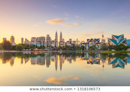 kuala lumpur skyline view of the city skyscrapers with a beautiful sky in the morning stock photo © galitskaya