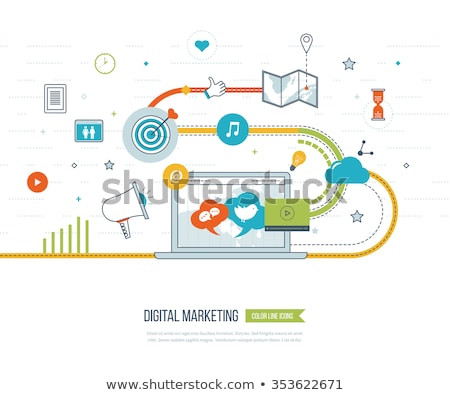digital marketing workers with megaphone website stock photo © robuart