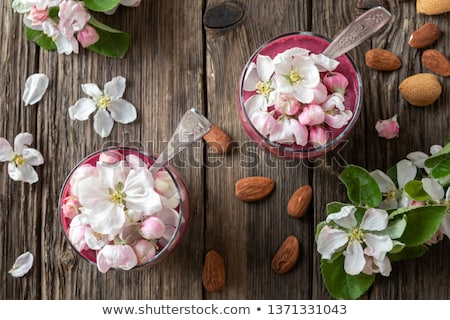Stock photo: Chia Pudding With Almond Milk And Apple Blossoms