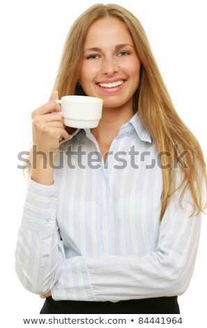 Friendly smiling young business woman isolated on white backgrou Stock photo © filipw