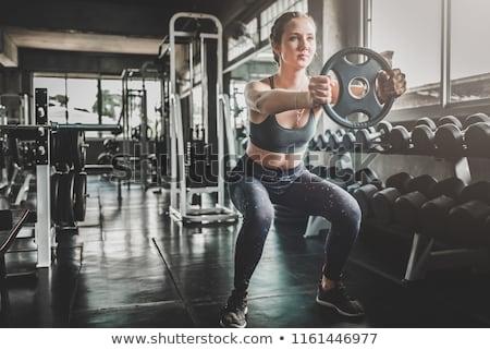 springen · actief · vrouw · gymnasium · boven · houten - stockfoto © elnur