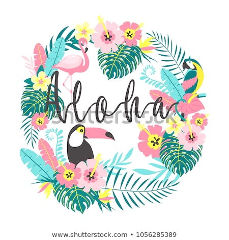 Zöld nyár rózsaszín trópusi virágok pálmalevelek Stock fotó © Artspace