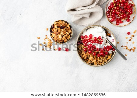 Natural yogurt with muesli in old gray bowl Stock photo © Melnyk