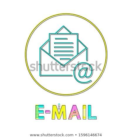Email fényes lineáris ikon boríték nyitva Stock fotó © robuart