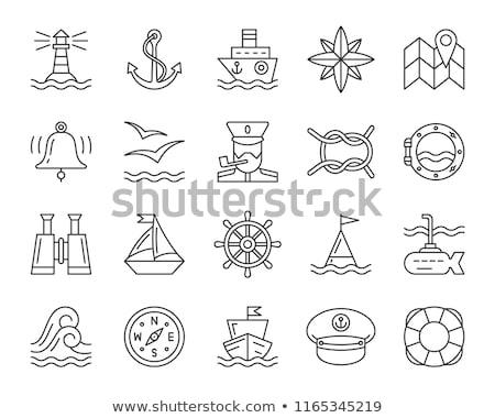 vector black white outline sea icon Anchor stock photo © VetraKori