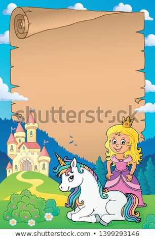 Princess and unicorn theme parchment 1 Stock photo © clairev