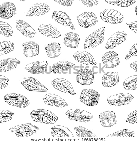 Vector sushi kleur schets rollen zalm Stockfoto © netkov1