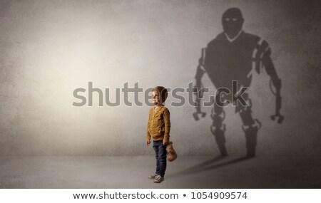 Robotman shadow of a cute little boy Stock photo © ra2studio
