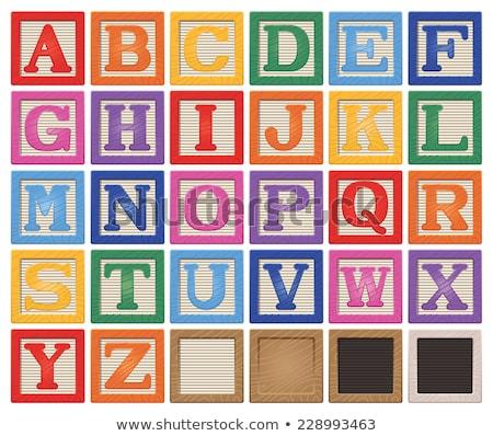 Stockfoto: Houten · alfabet · blokken · eps · 10 · hout