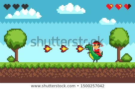 Start Game Dinosaur with Fire, Pixel Character Stock photo © robuart