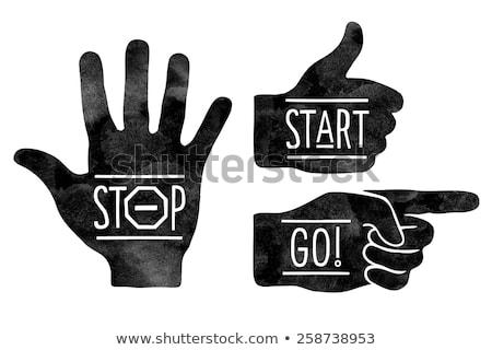 Thumbs Up Hand Sign Retro Vintage Woodcut  Stock photo © Krisdog