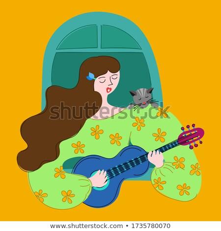 Femme jouer guitare guitariste chat maison Photo stock © robuart