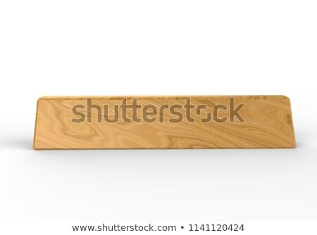 Plastic plate in wooden holder Stock photo © montego