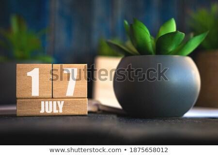 Foto stock: Cubos · calendario · rojo · blanco · icono · mesa