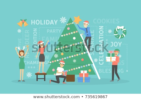 Young man decorating christmas tree isolated on white Stock photo © Elnur