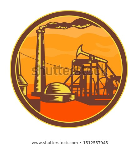 Oil Well With Pump Jack Circle Icon Retro Stock photo © patrimonio