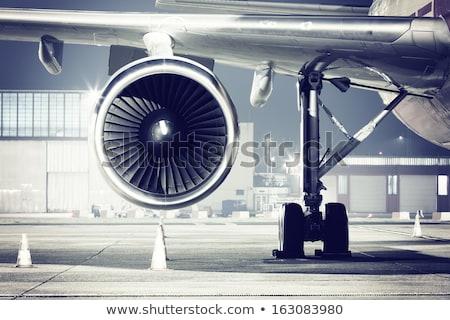 подробный самолет городского аэропорту сцена ретро-стиле Сток-фото © oblachko
