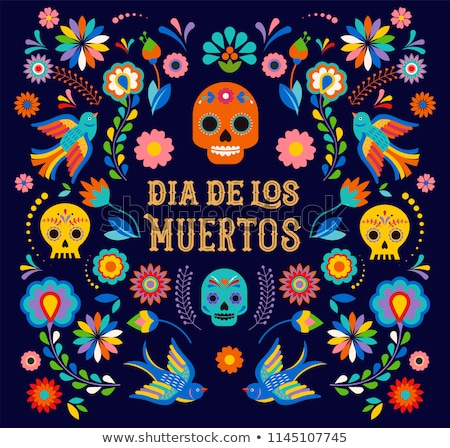 Day of the dead card funny mexican skull cartoon Stock photo © cienpies