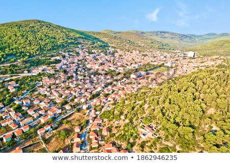 Blato on Korcula island historic town in green landscape view Stock photo © xbrchx