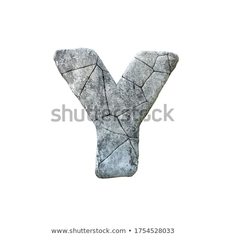 Concrete fracture font Letter Y 3D Stock photo © djmilic