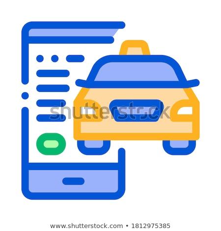 Taksówką telefonu online ikona wektora cienki Zdjęcia stock © pikepicture